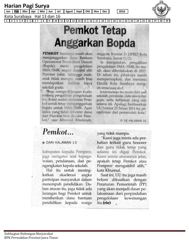 06-02-2016 Kota Surabaya Harian Pagi Surya Hal 13 & 16_001